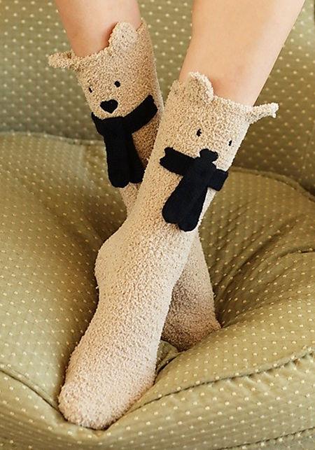 Taupe Bear Plush Socks
