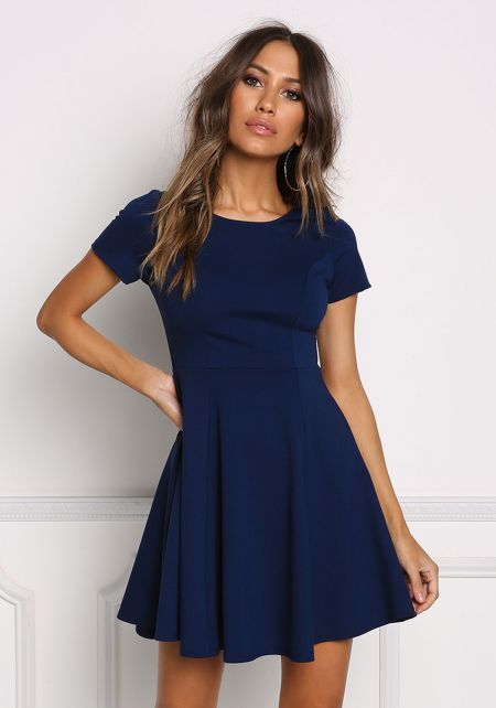 Navy Minimalist Flared Dress