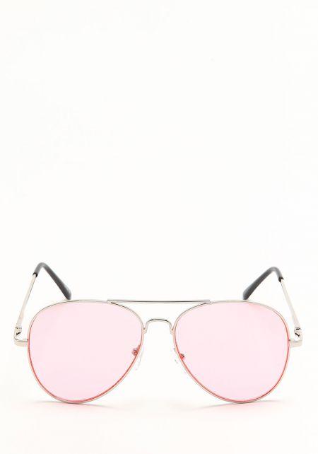 Zero UV Pink Flat Lens Aviator Sunglasses
