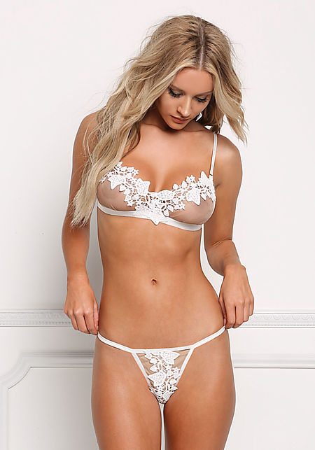 White Floral Applique Lace Thong