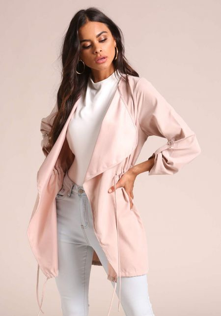 Blush Fold Over Drawstring Jacket