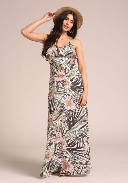 Grey Tropical Floral Maxi Dress