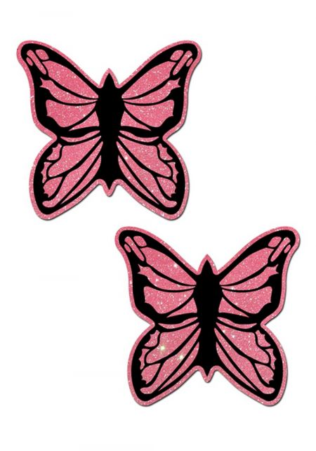 Pink Glitter Butterfly Nipple Covers