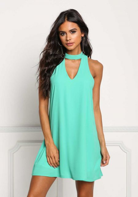Mint Choker Cut Out Shift Dress