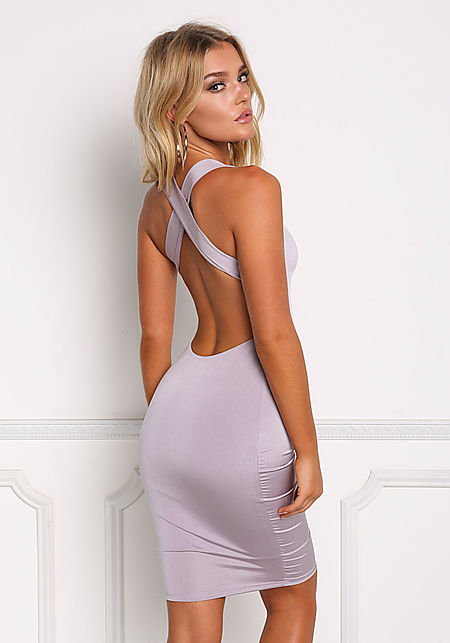 Lavender Cross Strap Low Scoop Bodycon Dress