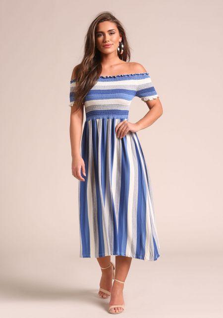 Blue Stripe Smocked Off Shoulder Midi Dress
