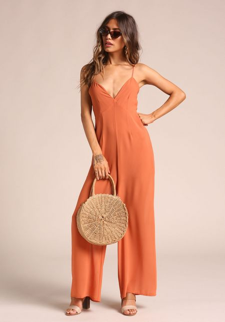 Rust Back Lace Up Palazzo Jumpsuit