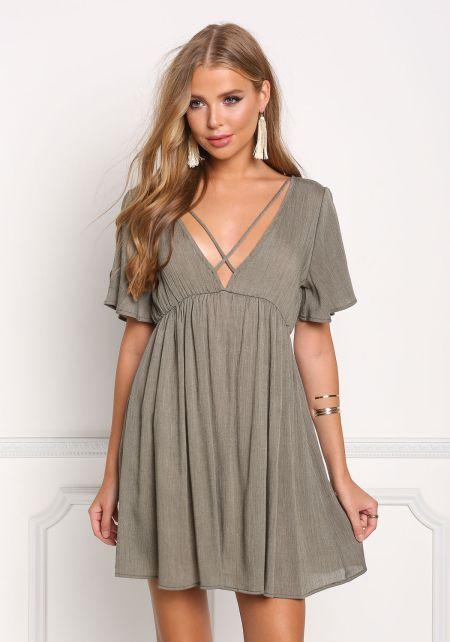 Olive Plunge V Cross Strap Shift Dress