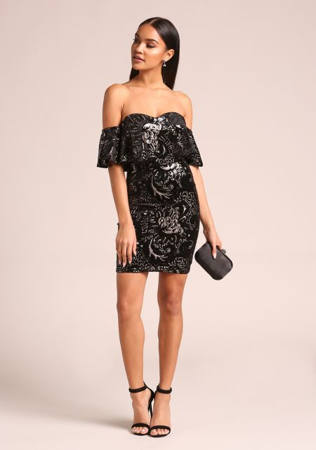 Black Floral Sequin Velvet Off Shoulder Bodycon Dr