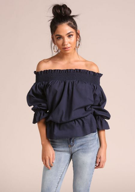 Navy Tie Back Puff Sleeve Off Shoulder Blouse