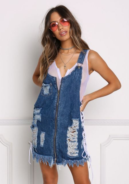 Denim Distressed Side Lace Up Overalls