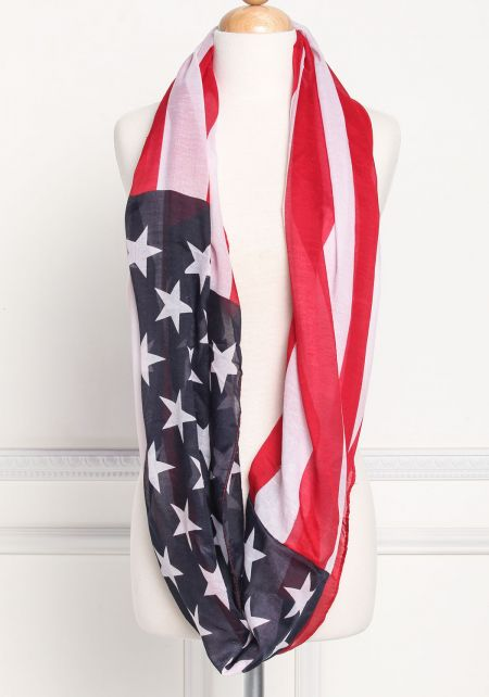 Blue and Red Stars & Stripes Infinity Scarf