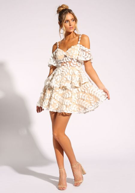 White and Nude Leaf Applique Tiered Flared Dress