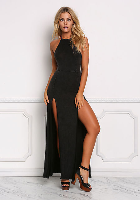 Black Two Slit Halter Maxi Dress