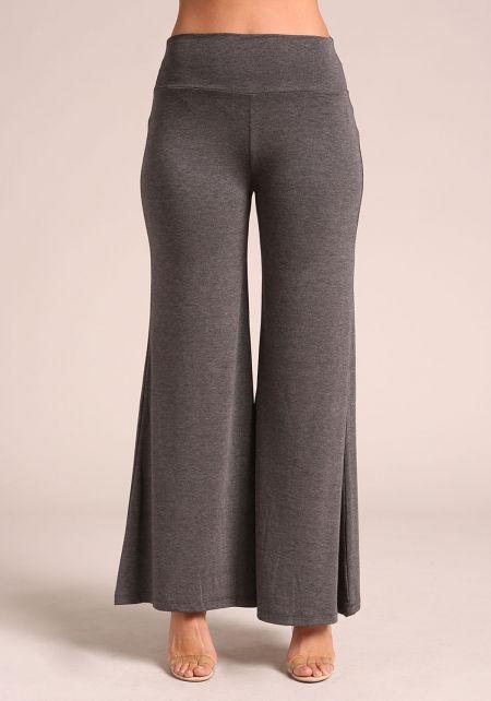 Charcoal Jersey Knit Palazzo Pants