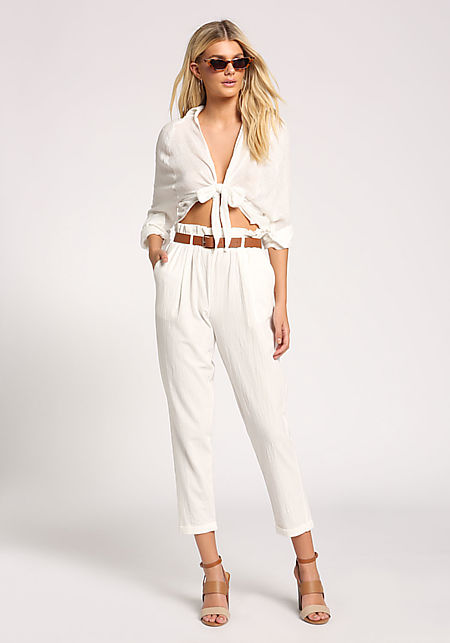 White Paperbag Waist Tie Pants