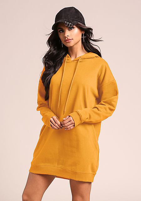 Mustard Hooded Tunic Sweater