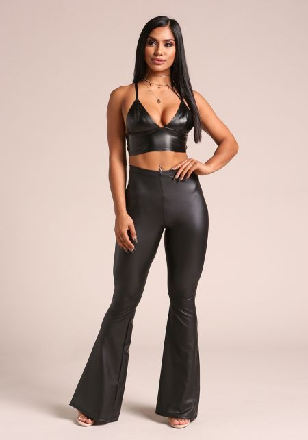 Black Leatherette Bell Bottom Leggings