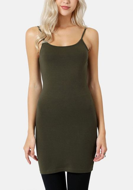 Dark Olive Jersey Knit Longlined Cami Tank Top