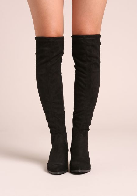 Black Suedette Knee High Boots