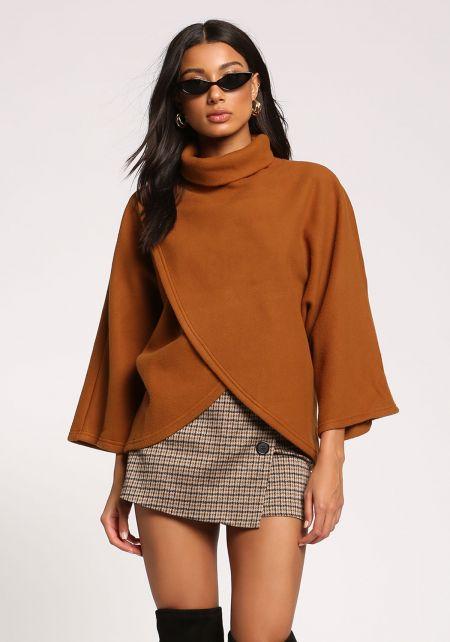 Brown Turtleneck Surplice Felt Sweater Top