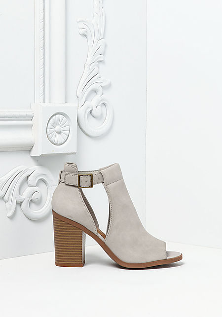 Grey Leatherette Peep Toe Cut Out Booties