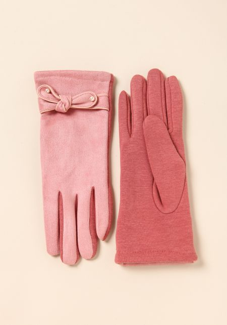 Pink Suedette Pearl Bow Gloves
