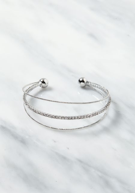 Silver Rhinestone Layered Cuff Bracelet