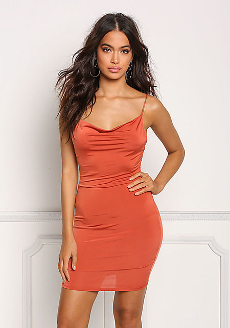 Rust Draped Low Cut Back Bodycon Dress