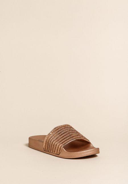 Rose Gold Rhinestone Slide Sandals