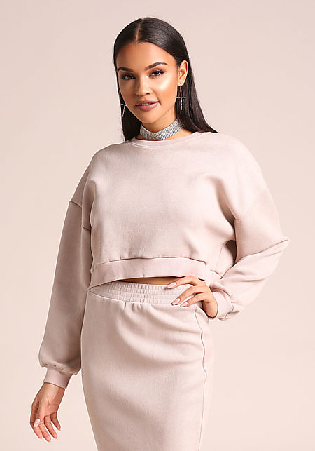 Blush Textured Leatherette Cropped Sweater Top