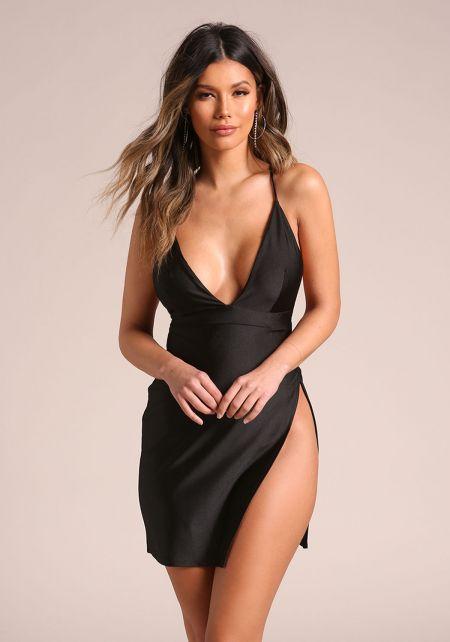 Black High Side Slit Plunge Cross Strap Dress