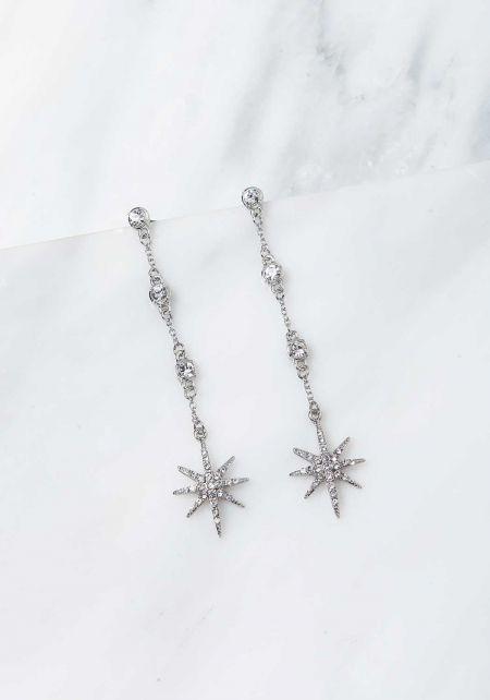 Silver Rhinestone Star Dangle Earrings