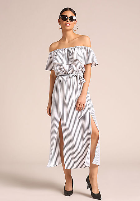 White Pinstripe Slit Off Shoulder Maxi Dress