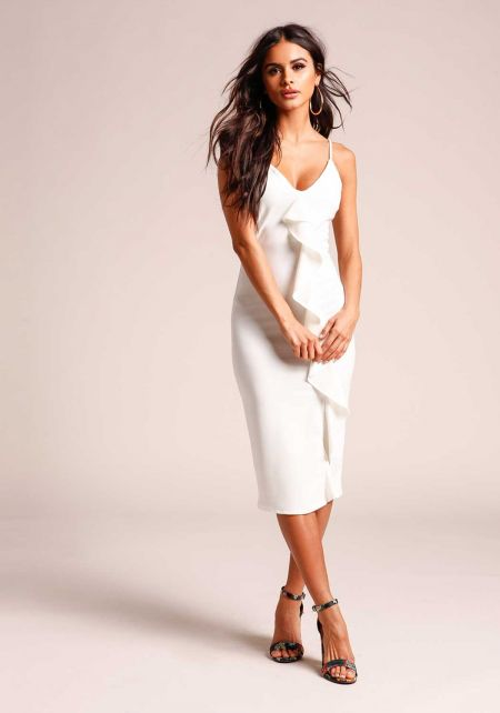 Ivory Cascading Ruffle Bodycon Dress