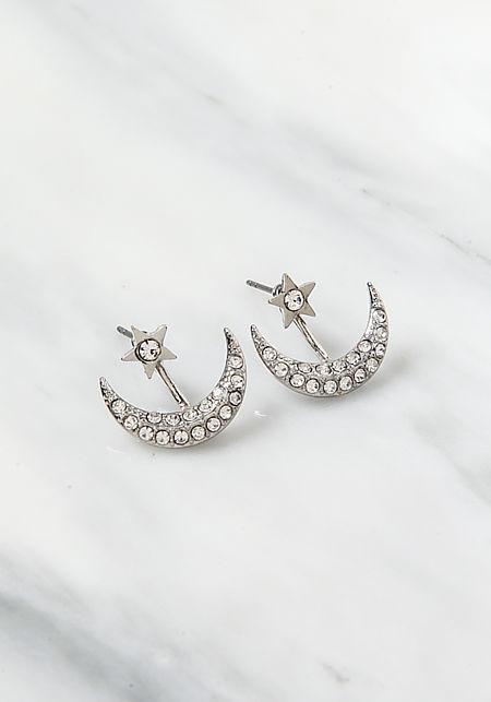 Silver Rhinestone Moon Star Earrings
