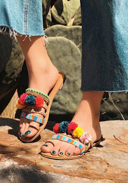 Beige Pom Pom Beaded Sandals