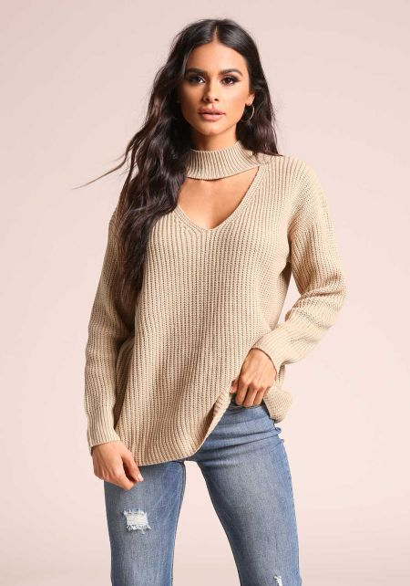 Taupe Cut Out Mock Neck Knit Sweater Top