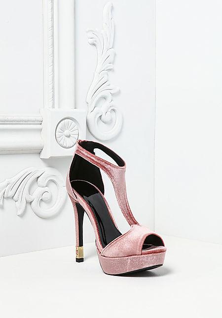 Blush Velvet Peep Toe Heels
