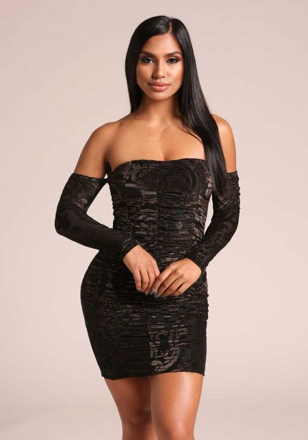 Black Sparkle Ruched Off Shoulder Bodycon Dress