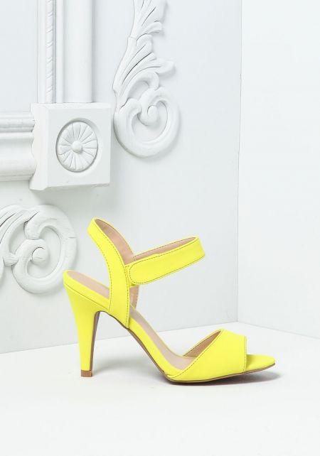 Neon Yellow Suedette Short Ankle Strap Heels