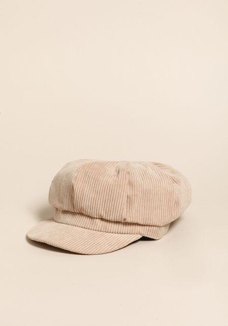 Beige Corduroy Cabby Hat