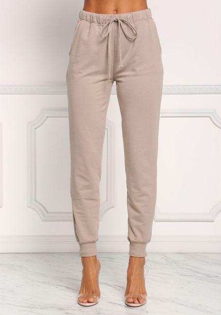 Khaki Drawstring Pocket Jogger Pants