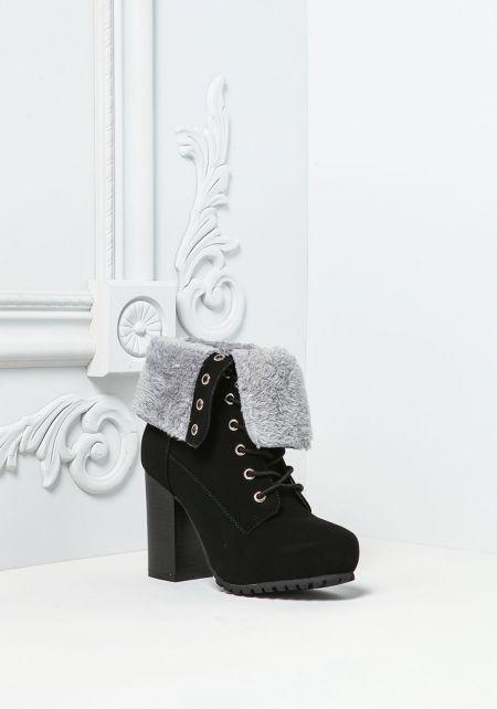 Black Suedette Faux Fur Fold Over Platform Boots