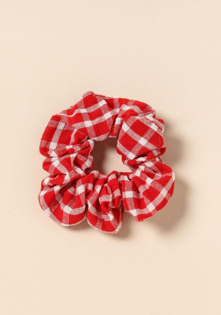 Red Gingham Scrunchie
