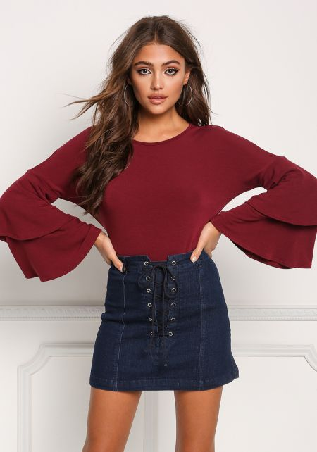 Burgundy Layered Bell Sleeve Knit Top