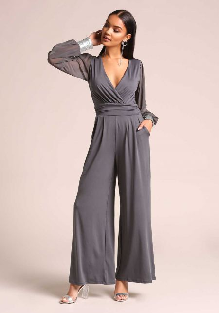 Charcoal Sequin Cuff Wide Legged Jumpsuit