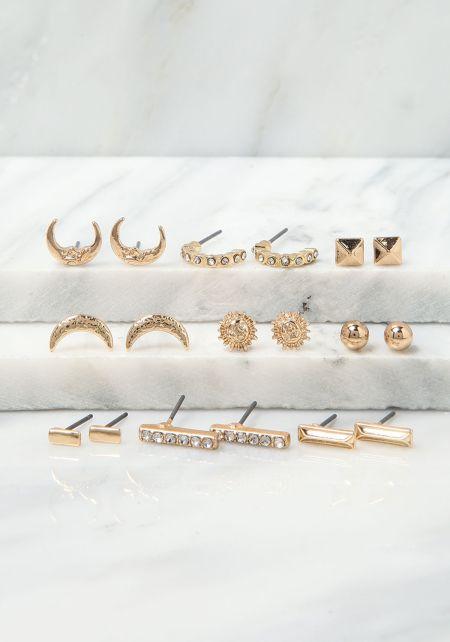 Gold Dainty Moon Assorted Earrings Set