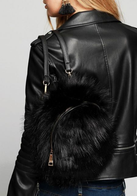 Black Fuzzy Faux Fur Backpack