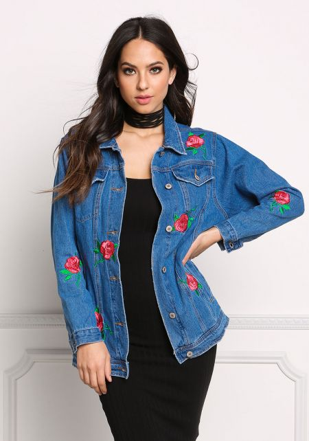 Denim Rose Embroidered Jacket